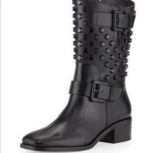 Black Michael Kors Bryn Studded Moto Boot